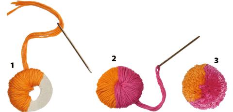 pompon dos colores tejiendoperu.com