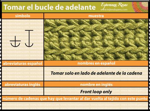 Como tejer a crochet tomando el bucle delantero