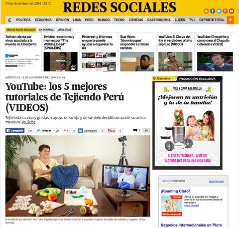 Nota en el Comercio de Perú, 19 de noviembre, 2014