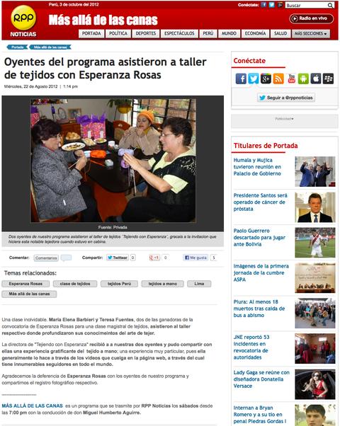 Esperanza Rosas en RPP radio Lima, Perú