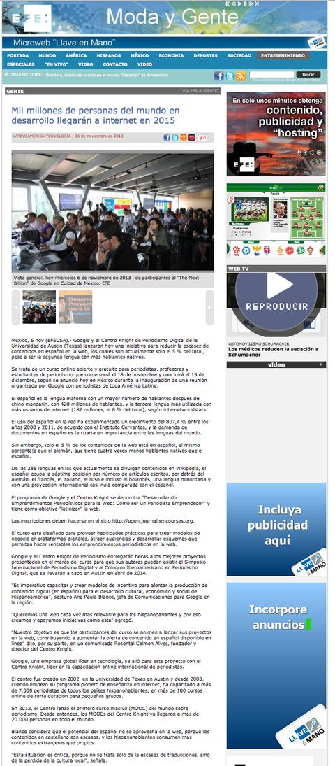 Tejiendo Perú en Sevidor de Noticia EFE México