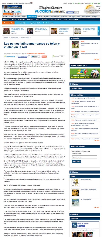 Tejiendo Perú en en diario de Yucatán de México