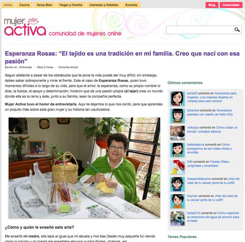 """Esperanza Rosas en el blog """"Mujer Activa"""""""