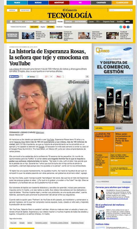 Esperanza Rosas de Tejiendo Perú en el diario EL Men