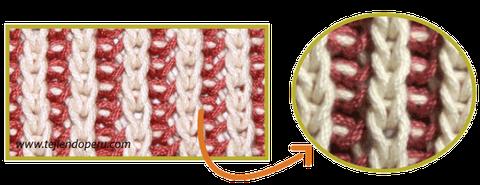 punto ingles dos colores brioche stitch tejiendoperu.com