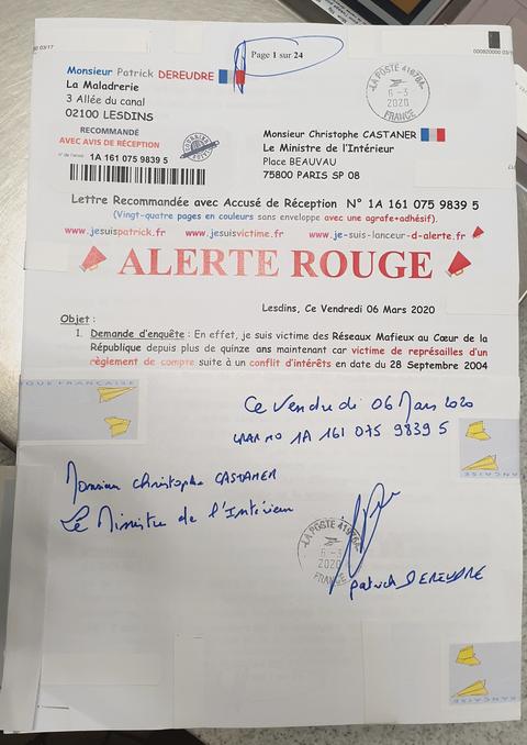 Ma lettre recommandée N° 1A 161 075 9839 5 de Vingt-Quatre Pages en Couleurs du  06 Mars 2020 à Monsieur Christophe CASTANER le Ministre de l'Intérieur Page de Garde www.jesuispatrick.fr www.jesuisvictime.fr