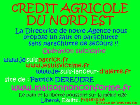JE SUIS UN LANCEUR D'ARLERTE : CREDIT AGRICOLE DU NORD EST voir site www.maisonnonconforme.fr de Patrick DEREUDRE