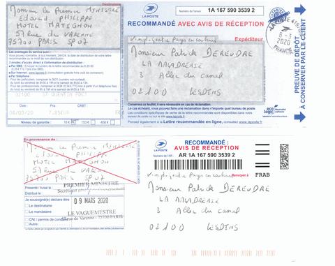 Accusé de Réception & Preuve de Dépôt Ma lettre recommandée du 06 Mars 2020 N° 1A 167 590 3539 2 de Vingt-quatre Pages en Couleurs   Monsieur le Premier Ministre Edouard Philippe www.jesuispatrick.fr