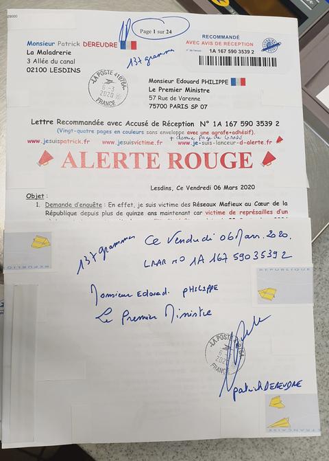 Ma LRAR à Monsieur le  Premier Ministre Edouard PHILIPPE N° 1A 167 590 3539 2 de VINGT-QUATRE PAGES EN COULEURS du 06 Mars 2020  www.jesuispatrick.fr