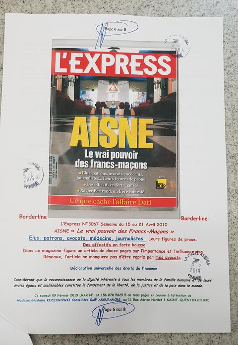 La page 6 sur 8 de ma lettre recommandée du Samedi 09 Février 2019 N° 1A 156 878 5829 5 de Huit Pages en couleurs GMF ASSURANCES www.jesuisvictime.fr www.jesuispatrick.fr www.alerte-rouge-france.fr