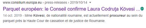 https://www.consilium.europa.eu    Madame Laura Codruta Kövesi Premier  PROCUREUR  EUROPÉEN ANTI-CORRUPTION www.jesuisvictime.fr