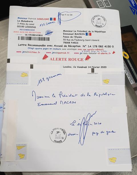 Ma lettre recommandée N° 1A 178 082 4150 0 de Vingt-Quatre Pages en Couleurs du  14 Février 2020 à Monsieur Emmanuel MACRON le Président de la République Page de Gardewww.jesuispatrick.fr