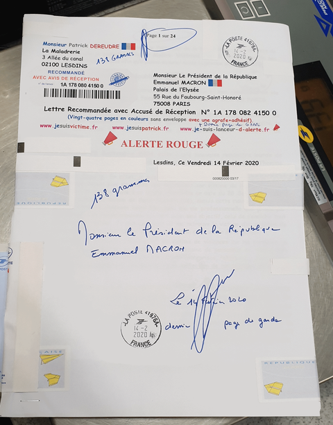 Ma lettre recommandée du 14 Février 2020 N° 1A 178 082 4150 0 de vingt-quatre pages en couleurs que j'ai adressé à Monsieur Emmanuel MACRON le Président de la République www.jesuispatrick.fr