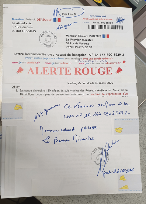 Ma lettre recommandée du 06 Mars 2020 N° 1A 167 590 3539 2 de Vingt-quatre Pages en Couleurs Page de Garde  Monsieur le Premier Ministre Edouard Philippewww.jesuispatrick.fr