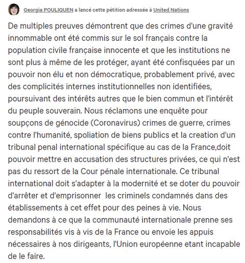 Madame Georgia Pouliquen POUR CREATION D'UN TRIBUNAL SPECIAL INTERNATIONAL POUR CRIMES CONTRE LE PEUPLE FRANÇAIS www.jesuispatrick.fr www.alerte-rouge-france.fr