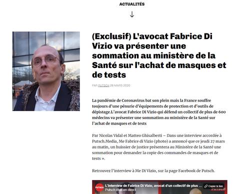 Putsch. MEDIA l'interview de L'avocat Fabrice Di Vizio va présenter une sommation au ministère de la Santé sur l'achat de masques et de tests www.jesuispatrick.fr www.alerte-rouge-france.fr