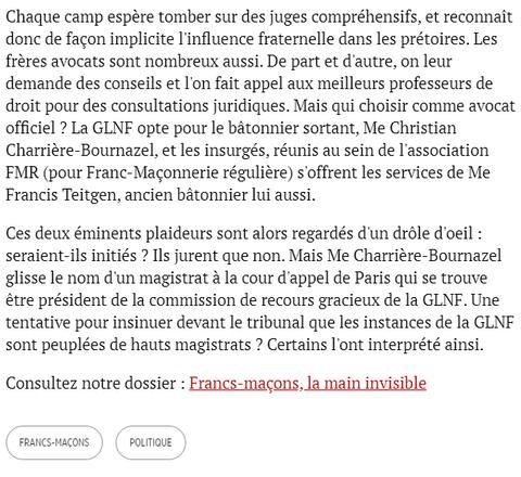 Quand l'appartenance maçonnique pèse dans la balance Par Sophie Coignard Publié le 01/02/2011 à 15h10 Le Point