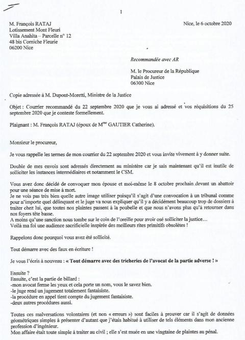 LRAR du 06 Octobre 2020 de trois pages de François RATAJ  à Procureur de la République de Nice Mise en ligne le 07 Octobre 2020 à 9h10