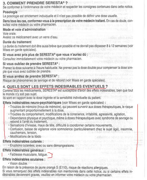 SERESTA 50Mg Effets Indésirables   Drogué par mon Médecin Traitant au SERESTA 50MG... MON LONG COMBAT CONTRE LES RÉSEAUX DE NON DROIT... Site www.jesuispatrick.fr   …LIBERTÉ ÉGALITE FRATERNITÉ…