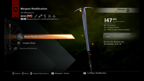 Dragon Age: Inquisition modified weapon modification menu