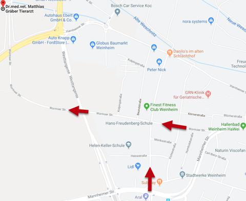 Google Maps Anfahrt zur Tierarztpraxis Dr. Gräber: Brunnweg 1, 69469 Weinheim