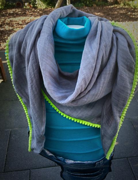 Sommerschal grau/grün / summer scarf grey/green