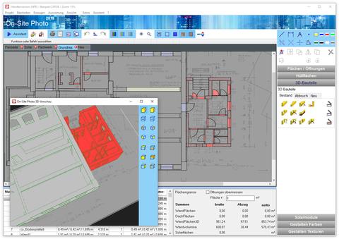 Plan mit 3D-Bauteilen nachgezeichnet