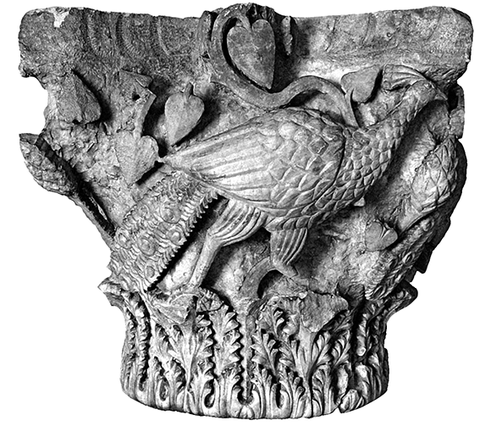 Peackock capital from the episcopal basilica in Stobi.