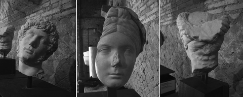 From left to right the three heads in Göktepe marble identified at the Hadrian's Villa: Hadrian (VA3), fragmentary head of Vibia Sabina (VA2), and Vibia Sabina (VA1).