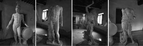 From left to right the four sculptures in Docimium marble sampled at the Hadrian's Villa: Ares (VA12), Hermes (VA15), Amazon from Phidias (VA14) and Amazon from Polyclitus (VA13).
