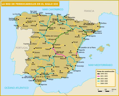 Xarxa de ferrocarrils a Espanya