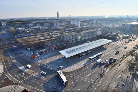 Der Hauptbahnhof in Bochum aus der Vogelperspektive