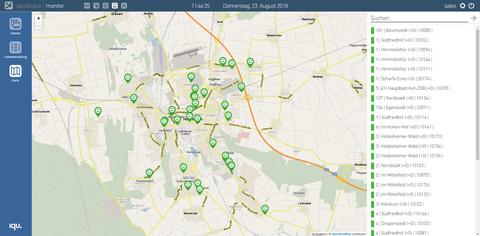 Die kartografische Fahrtenansicht aus dem neuen monitor hub