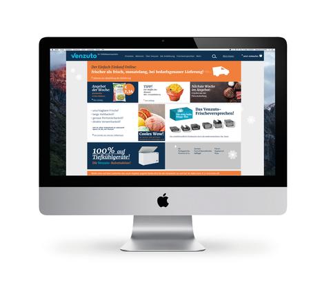 Abgebildete Startseite des Tiefkühlwarenhändlers Venzuto bei der HAello Kommunikationsdesign Konzept und Gestaltung entwickelt hat