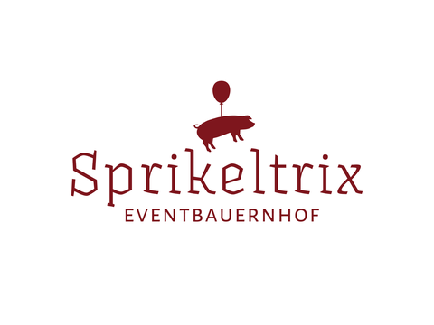 Logo für den Eventbauernhof Sprikeltrix mit einem an einen Luftballon gebundenen, fliegendem Schwein