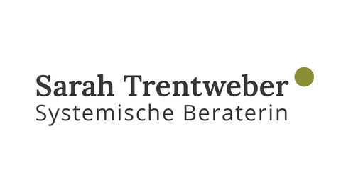 Logo für die Systemische Beraterin Sarah Trentweber, Schriftmarke mit Namen und Berufsbezeichnung, Bildmarke ist ein grüner Punkt rechts oben neben dem Namen