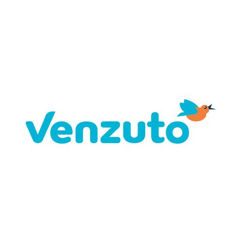 Logo mit der Wortmarke Venzuto als Bildmarke ist ein illustrierter Eisvogel zu sehen