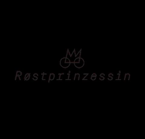 Logo mit dem Namen Røstprinzessin in kursiver Schrift und einer Krone mit Rädern, die ein Fahrrad symbolisiert.