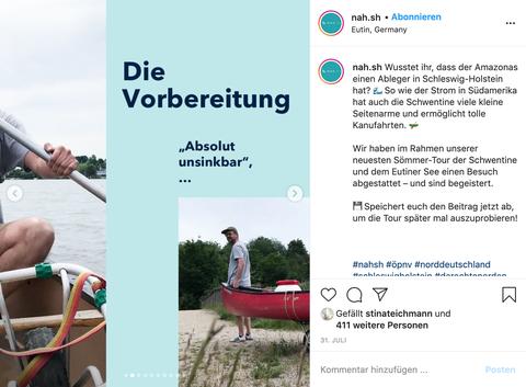 Ein Screenshot von einem Instagram Post auf dem ein Mann zu sehen ist, der ein Kanu trägt
