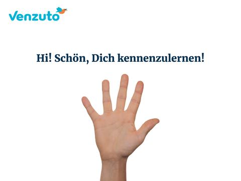 Hand, die ins Bild grüßt mit dem Satz Hi! Schön, dich kennenzulernen! Leistung: Konzeption, Text, Drehbuch, grafische Umsetzung, Einsprechen – komplette Animation aus einer Hand.