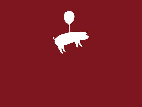 Grafik mit einem weißen Schwein an einem Luftballon schwebend auf rotem Untergrund. Leistung: Grafik, Naming, Kampagnen, Werbetexte, Ideenentwicklung, Kampagnenberatung für einen Eventbauernhof in Nordrhein-Westfalen.