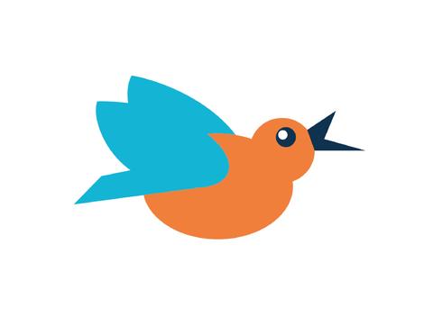 Ein illustrierter Eisvogel mit orangenem Körper und blauen Flügeln dient als Erkennungszeichen bzw. Bildmarke für den Tiefkühlwarenhändler Venzuto