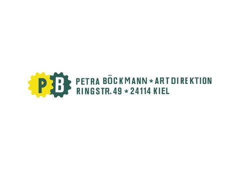 Logo von Petra Böckmann mit Bildmarke und Schriftmarke in Gelb und Grün