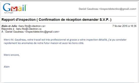Message de satisfaction de client d'Inspectdetect Inc à notre inspecteur en bâtiment Daniel Gaudreau