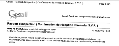 Message d'un de nos client satisfait du service de notre inspecteur en bâtiment Daniel Gaudreau chez Inspectdetect Inc.