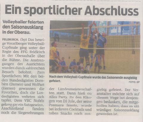 2. Rang unserer LL-Mannschaft am 12.4.2014 beim Cupfinale gegen VBC Wolfurt/Bundesliga