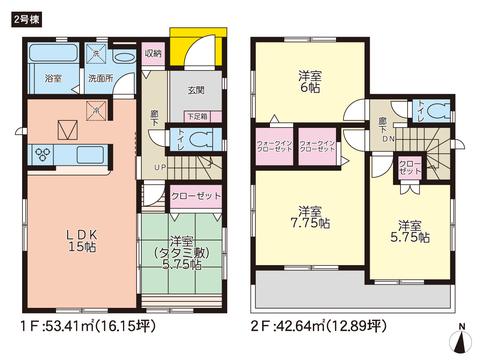 岡山県倉敷市平田の新築 一戸建て分譲住宅の間取り図