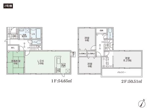 岡山県倉敷市亀島の新築 一戸建て分譲住宅の間取り図