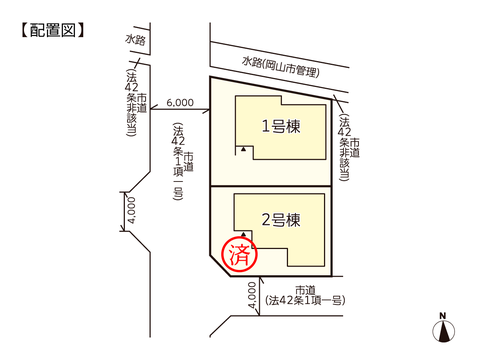 岡山県岡山市東区益野町の新築 一戸建て分譲住宅の区画図