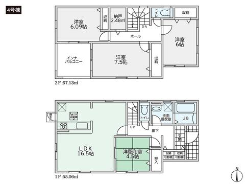 岡山県倉敷市児島味野の新築 一戸建て分譲住宅の間取り図